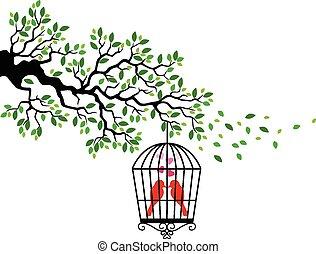 ptak, rysunek, sylwetka, drzewo