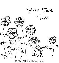 ptak, tło, kwiatowy