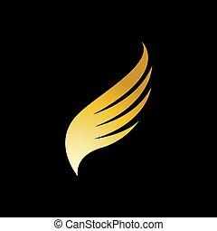 ptaszek skrzydło, złoty, sokół, wektor, logo