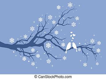ptaszki, drzewo zima, boże narodzenie