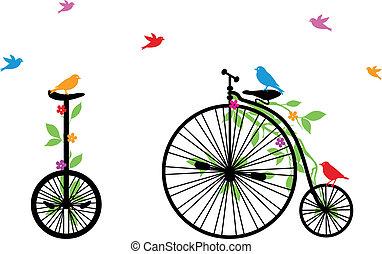 ptaszki, rower, wektor, retro