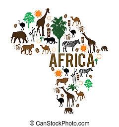 punkt orientacyjny, mapa, sylwetka, afryka, ikony
