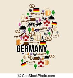 punkt orientacyjny, mapa, sylwetka, niemcy, ikona
