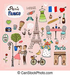 punkty orientacyjny, francja, paryż, ikony