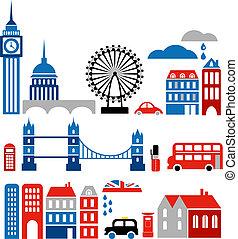 punkty orientacyjny, wektor, londyn, ilustracja