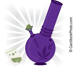 purpurowy, bong, marihuana