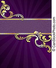 purpurowy, chorągiew, złoty, pionowy