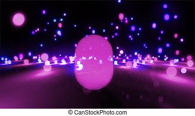 purpurowy, kolor, piłki, atmosfera, lekki