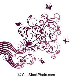 purpurowy, motyl, kwiat, ozdobny