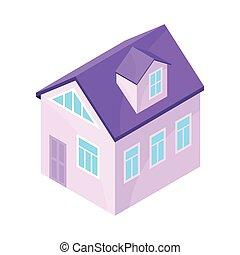 purpurowy, nowoczesny, house., ilustracja, tło., wektor, wzór, biały