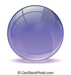 purpurowy, piłka, 3d, ikona