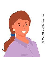 purpurowy, uśmiechanie się, odizolowany, kobieta, profil, bluzka