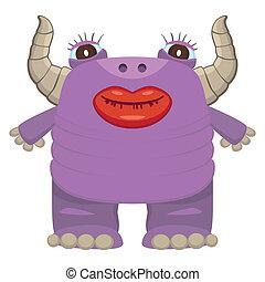 purpurowy, zabawny, potwór