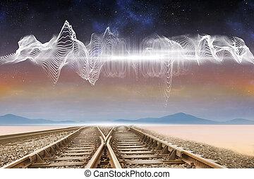 pustynia, ślady, pod, pociąg, energia, machać