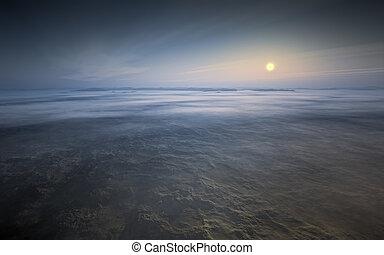 pustynia, wschód słońca