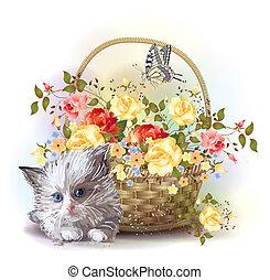 puszysty, kosz, kociątko, róże, ilustracja