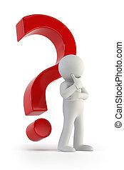 pytanie, ludzie, marka, -, czerwony, 3d, mały