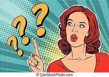 pytanie, myśli kobieta, marka