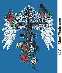 róża, emblemat, krzyż