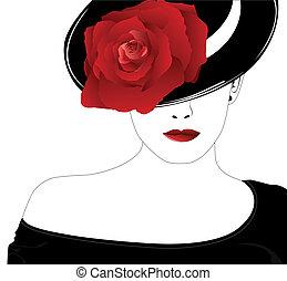 róża, kobieta, kapelusz