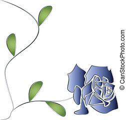 róża, liście, wektor, srebro, pień