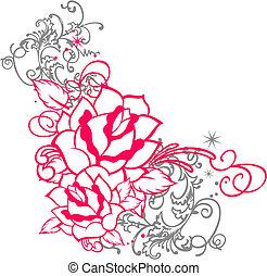 róża, ozdoba, woluta, portret