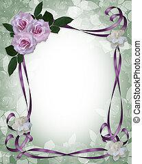 róże, ślub, brzeg, lawenda, zaproszenie