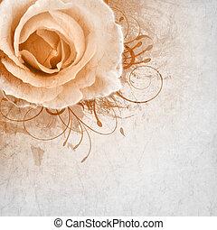 róże, beżowe tło, ślub