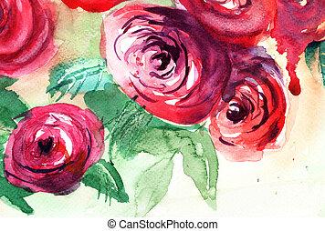 róże, malarstwo, akwarela, kwiaty, piękny