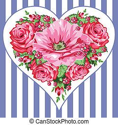 róże, wiktoriański, serce