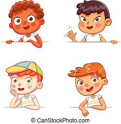 różny, chłopcy, deska, dzierżawa, narodowości, biały, opróżniać