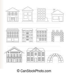 różny, domy, rodzaje