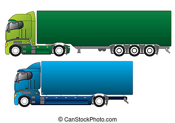 różny, europejczyk, ładunek, ciężarówki