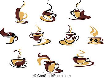 różny, filiżanki, kawa