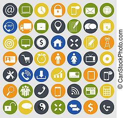 różny, finanse, ikony, komunikacja, ilustracja handlowa, wektor