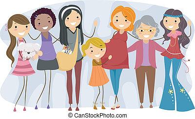 różny, generacje, kobiety