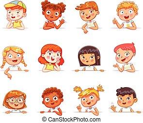 różny, gesty, różny, deska, dzierżawa, narodowości, biały, dzieci, opróżniać