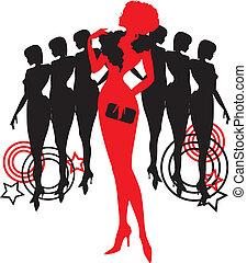 różny, graficzny, grupa, silhouettes., osoba, kobiety