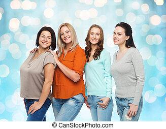 różny, grupa, odzież, szczęśliwy, przypadkowy, kobiety