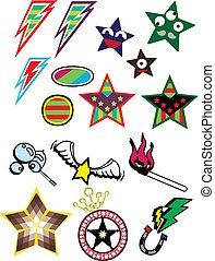 różny, gwiazda, symbol, ilustracja