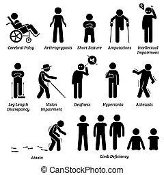 różny, icons., typ, upośledzony, categories, wtykać, niepełnosprawny, figury