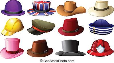 różny, kapelusz, projekty