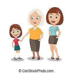 różny, kobieta, wieczność, komplet, babka., dziecko, generacje