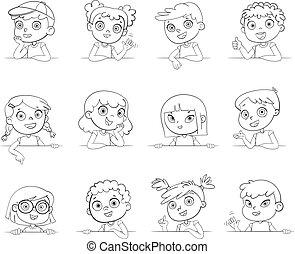 różny, logotype, gesty, różny, dzierżawa, narodowości, board., biały, dzieci, opróżniać