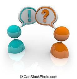 różny, ludzie, -, dwa, opitnions, debata, rozmawianie