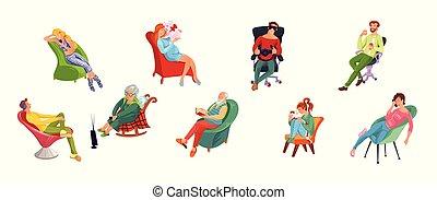 różny, mężczyźni, różny, posiedzenie, style., komplet, płaski, ilustracja, kobiety, rysunek, chairs., rozluźnić, wektor