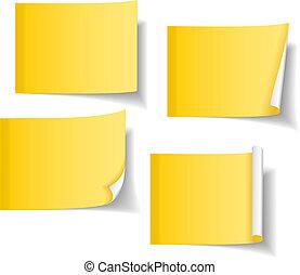 różny, notatki, żółty, lepki