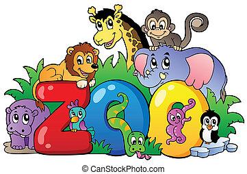 różny, ogród zoologiczny, zwierzęta, znak