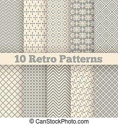 różny, patterns., seamless, ilustracja, wektor, retro