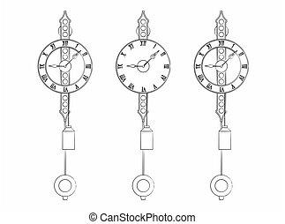 różny, podobny, klasyk, ścienny zegar, brushstrokes, szkic